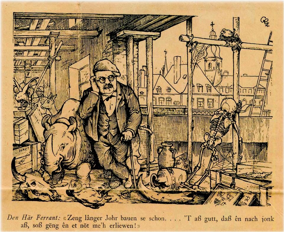 """Karikatur  aus """"De Gukuk"""", Humoristesch-satirescht Wocheblat, Nummer 2, 9.1.1932"""